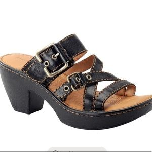 BORN Hilda Dark Brown Leather Slide Sandals Sz 8
